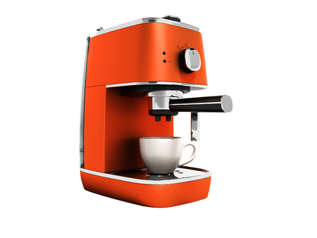 Modern orange coffee machine for one cup of coffee 3d render on white background no shadow