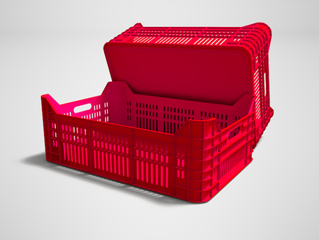 Red plastic two boxes blank rear view 3d render on gray background with shadow Stock Photo