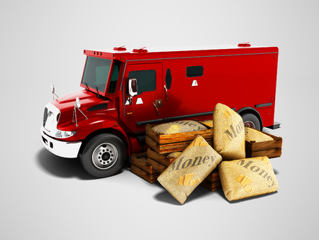 Modern red armored truck for carrying money in bags 3d render on gray background with shadow Stock Photo