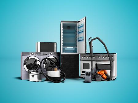 Haushaltsgeräte Gruppe von Staubsaugern Kühlschrank Mikrowelle Waschmaschine Waschmaschine Gasherd 3D-Render auf blauem Hintergrund mit Schatten Standard-Bild