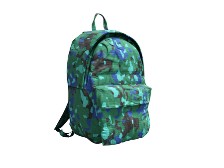 Modern military backpack in school for boy and teenager with green blue 3d render on white background no shadow