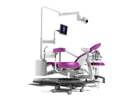 Modern violet dental chair with borax with lighting and monitor for work 3d render on white background with shadow