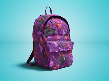 Modern military backpack in school for boy and teenager with violet pink color 3d render on blue background with shadow Stock Photo
