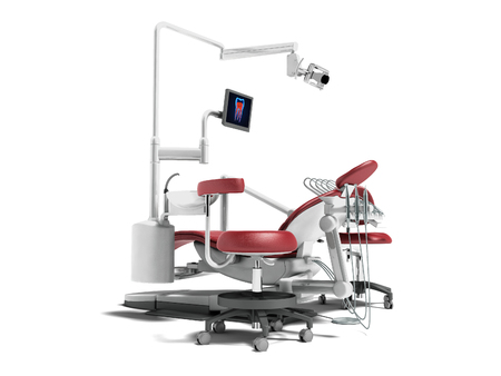 Modern red dental chair with borax with lighting and monitor for work 3d render on white background with shadow