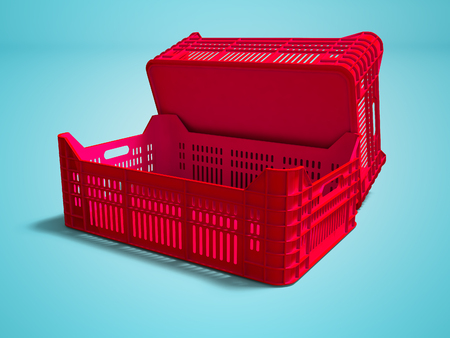 Red plastic two boxes blank rear view 3d render on blue background with shadow