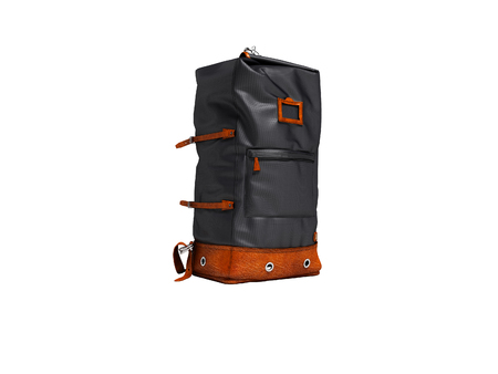 Traveling blue bag with brown inserts for travel in nature right side 3d render on white background no shadow Banque d'images