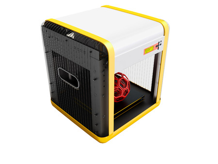 Modern white 3d printer for home use with yellow inserts 3D render on white background no shadow