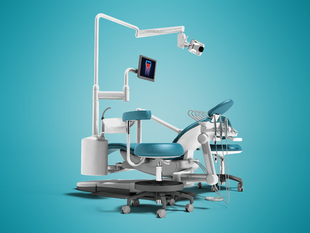 Modern blue dental chair with borax with lighting and monitor for work 3d render on blue background with shadow