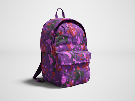 Modern military backpack in school for boy and teenager with violet pink color 3d render on gray background with shadow 版權商用圖片