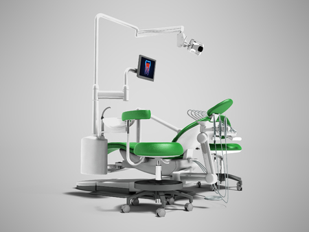Modern green dental chair with borax with lighting and monitor for work 3d render on gray background with shadow