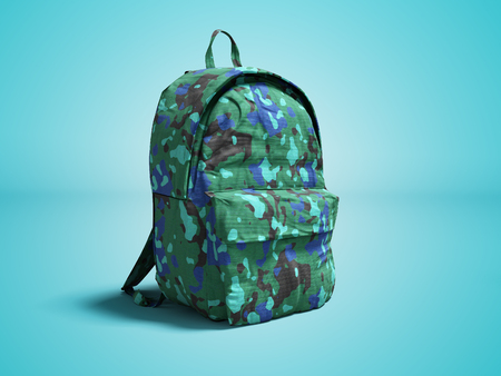 Modern military backpack in school for boy and teenager with green blue 3d render on blue background with shadow