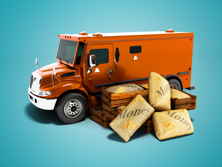 Modern orange armored truck for carrying money in bags 3d render on blue background with shadow