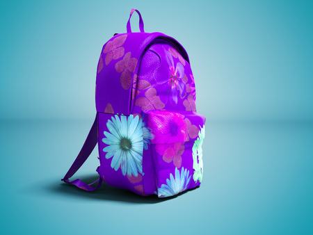 Modern violet backpack in school for girl and teenager with flowers isolated 3D render on blue background with shadow Imagens