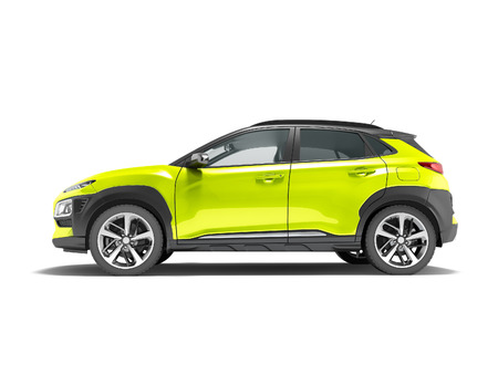 Modern yellow car crossover side view 3d render on white background with shadow 写真素材