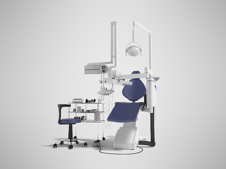 Modern concept of dentist with blue dental chair with manual light and various drills to identify tooth 3d render on gray background with shadow Foto de archivo - 111414178