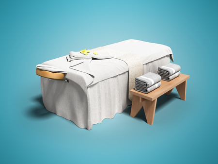 Modern white massage bed with folded towels left view 3d render on blue background with shadow Foto de archivo