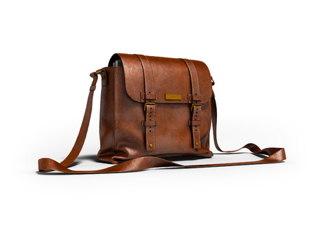 Brown leather postal bag with parcels 3d render on white background with shadow