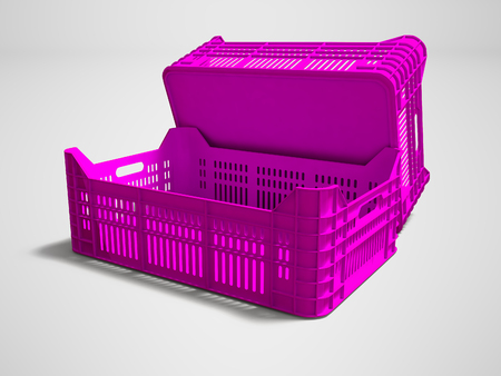 Pink plastic two boxes blank rear view 3d render on gray background with shadow