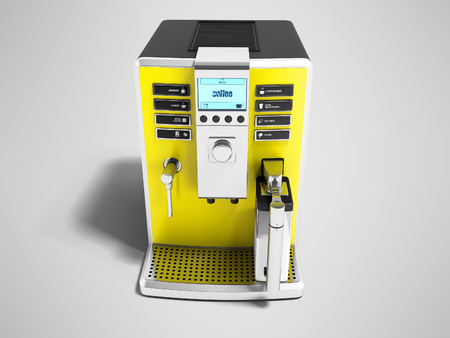 Modern yellow coffee machine with milk dispenser on one cup front view 3d render on gray background with shadow Stock Photo
