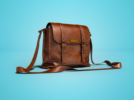 Brown leather postal bag with parcels 3d render on blue background with shadow 스톡 콘텐츠