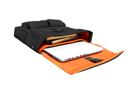 Black student bag open with laptop and books 3d render on white background no shadow