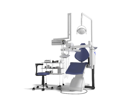Modern concept of dentist with blue dental chair with manual light and various drills to identify tooth 3d render on white background with shadow Foto de archivo - 111414269