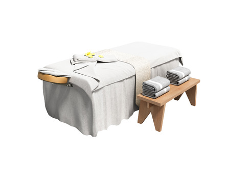 Modern white massage bed with folded towels left view 3d render on white background no shadow