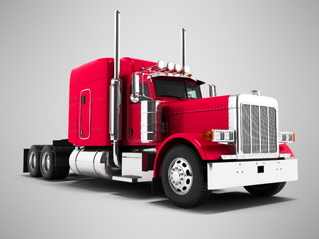 Red truck for transportation of goods to other countries 3d render on gray background with shadow