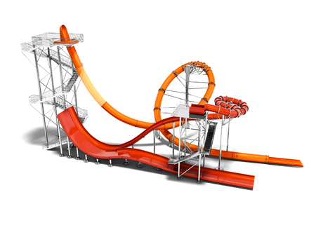 Orange big water slide with red water slide right side 3d render on white background with shadow