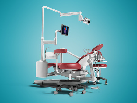 Modern red dental chair with borax with lighting and monitor for work 3d render on blue background with shadow