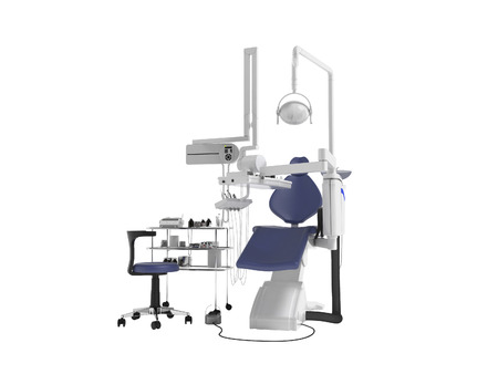 Modern concept of dentist with blue dental chair with manual light and various drills to identify tooth 3d render on white background no shadow Foto de archivo - 111414322