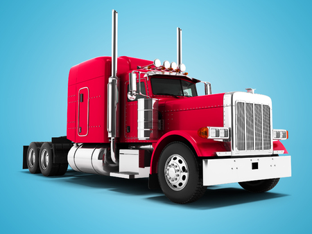 Red truck for transportation of goods to other countries 3d render on blue background with shadow