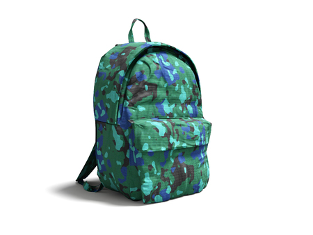 Modern military backpack in school for boy and teenager with green blue 3d render on white background with shadow Stock Photo