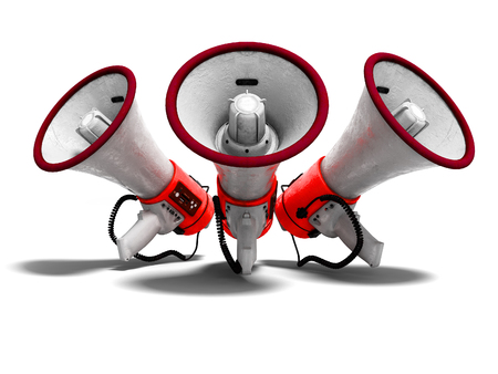 Modern red portable loudspeaker raised up for speech 3d render on white background with shadow