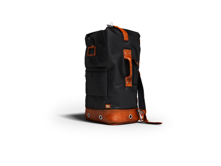 Modern black leather backpack for traveling in the mountains 3d render on white background with shadow Stock Photo
