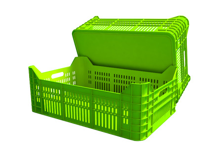 Green plastic two boxes blank rear view 3d render on white background no shadow Banque d'images