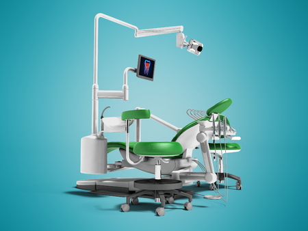 Modern green dental chair with borax with lighting and monitor for work 3d render on blue background with shadow Stock Photo