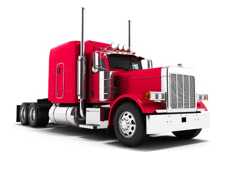 Red truck for transportation of goods to other countries 3d render on white background with shadow