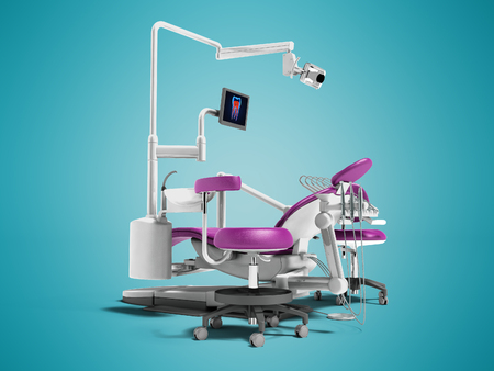 Modern violet dental chair with borax with lighting and monitor for work 3d render on blue background with shadow Stock Photo