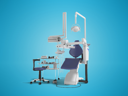 Modern concept of dentist with blue dental chair with manual light and various drills to identify tooth 3d render on blue background with shadow Foto de archivo - 111414412