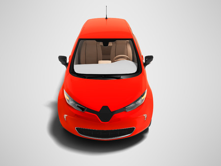 Modern red electric hatchback car for trips in the city front view 3d render on gray background with shadow 版權商用圖片