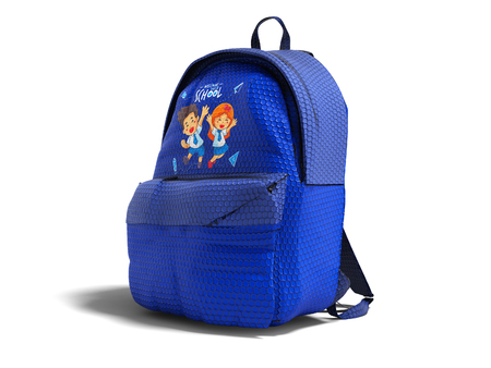 Modern blue backpack in school for teenager with the image of the guys from school right side 3d render on white background with shadow