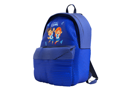Modern blue backpack in school for teenager with the image of the guys from school right side 3d render on white background no shadow