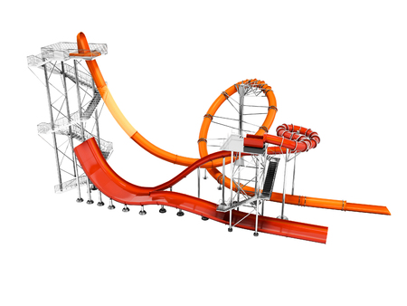Orange big water slide with red water slide right side 3d render on white background no shadow Imagens