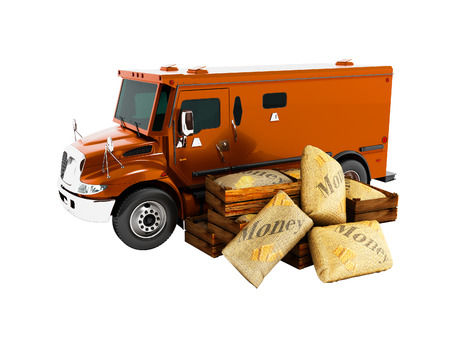 Modern orange armored truck for carrying money in bags 3d render on white background no shadow