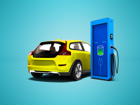 Modern yellow electric car with column for refueling electricity 3d render on blue background with shadow