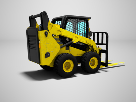 Forklift yellow with scuffs for loading 3d render on gray background with shadow Stockfoto