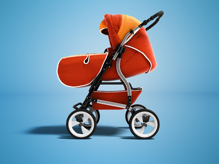 Modern orange stroller for child for autumn walks 3d render on blue background with shadow Stock Photo