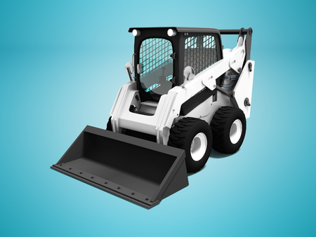 White loader with territory cleaning scoop 3d render on blue background with shadow
