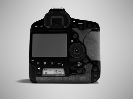 Professional black camera with leather inserts rear view 3d render on gray background with shadow